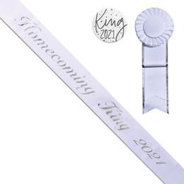 Homecoming King Year Sash, Button, and Rosette Set - White/Silver Script