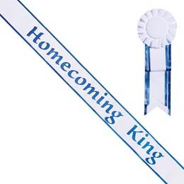 Homecoming King Sash and Rosette - White/Blue Edges