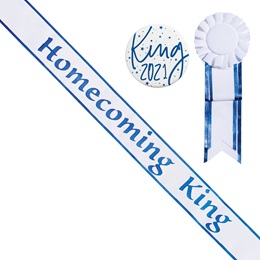 Homecoming King Sash with Rosette and Button Set - White/Blue Edges