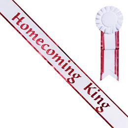 Homecoming King Sash and Rosette - White/Red Edges