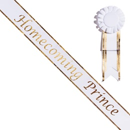 Homecoming Prince White Sash with Rosette - Gold Edges