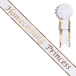 Homecoming Princess White Sash with Rosette - Gold Edges