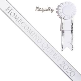 Homecoming Queen 2020 Sash with Rosette & Royalty Pin - White/Silver Edges