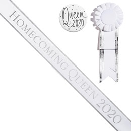 Homecoming Queen 2020 Sash, Button, and Rosette Set - White/Silver Edges
