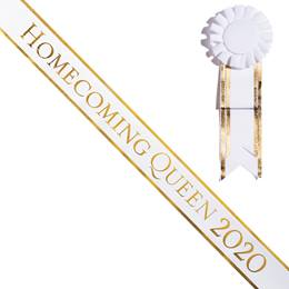 Homecoming Queen 2020 Sash With Rosette - White/Gold