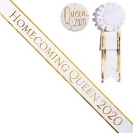 Homecoming Queen 2020 Sash, Button, and Rosette Set - White/Gold Edges