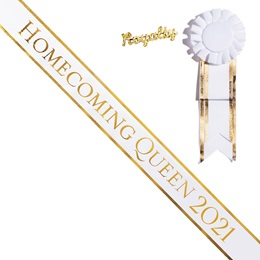 Homecoming Queen Year Sash and Royalty Pin Set - White/Gold