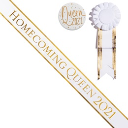 Homecoming Queen Year Sash, Button, and Rosette Set - White/Gold Edges