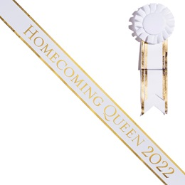 Homecoming Queen Year Sash With Rosette - White/Gold Edges