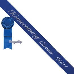 Homecoming Queen Year Sash, Pin, and Rosette Set - Blue/Silver Script