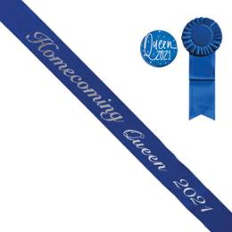 Homecoming Queen Year Sash, Button, and Rosette Set - Blue/Silver Script