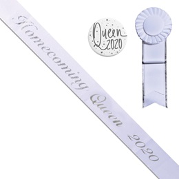 Homecoming Queen 2020 Sash, Button, and Rosette Set - White/Silver Script