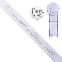 Homecoming Queen Year Sash, Button, and Rosette Set - White/Silver Script