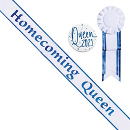 Homecoming Queen Sash with Rosette and Button Set - White/Blue Edges