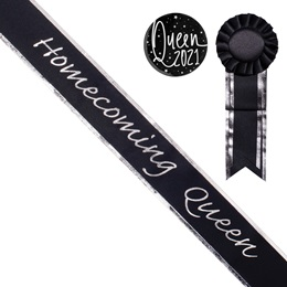 Homecoming Queen Sash with Rosette and Button Set - Black/Silver Edges