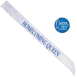 Satin Homecoming Queen Sash with Button - White and Blue