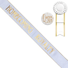 Gold Edge Homecoming Royalty Sash, Button, and Rosette Set - White/Gold Print