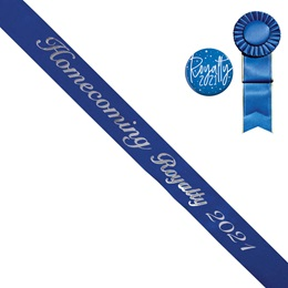 Homecoming Royalty Year Sash, Button, and Rosette Set - Blue/Silver Script
