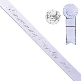 Homecoming Royalty Year Sash, Button, and Rosette Set - White/Silver Script