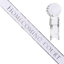 Homecoming Court Sash with Rosette - White/Silver Edges