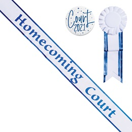 Homecoming Court Sash with Rosette and Button Set - White/Blue Edges