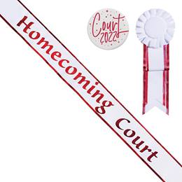 Homecoming Court Sash with Rosette and Button Set - White/Red Edges