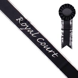 Royal Court Sash and Rosette - Black/Silver Edges