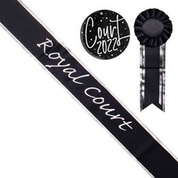 Royal Court Sash with Rosette and Button Set - Black/Silver Edges