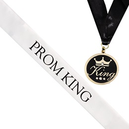 Prom King Sash and Medallion Set -White/Black