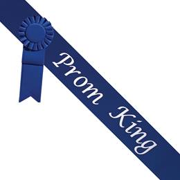 Prom King Sash With Rosette - Blue/Silver
