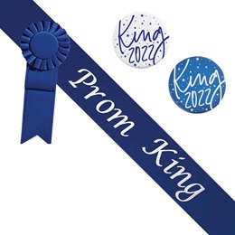 Prom King Sash and Button Set - Blue and Silver