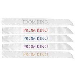 White Satin Prom King Sash