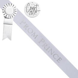 Prom Prince Sash and Button Set - White and Silver