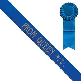 Blue Prom Queen Sash With Gold Stars and Rosette