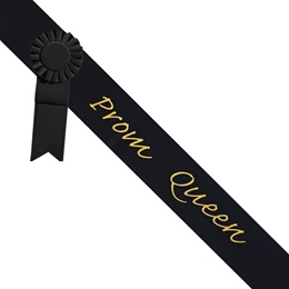 Prom Queen Sash With Rosette - Black/Gold
