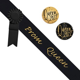 Prom Queen Sash and Button Set - Black and Gold