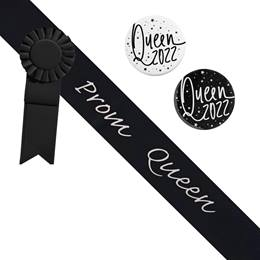 Prom Queen Sash and Button Set - Black and Silver