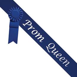Prom Queen Sash With Rosette - Blue/Silver