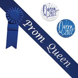 Prom Queen Sash and Button Set - Blue and Silver