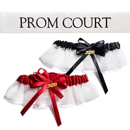 Prom Court Sash and Garter Set - White/Black