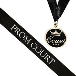 Prom Court Sash and Medallion Set -Black/White