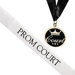 Prom Court Sash and Medallion Set -White/Black