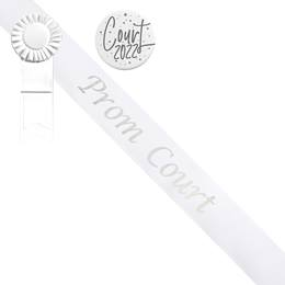 Prom Court Sash and Button Set - White and Silver