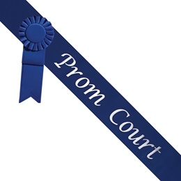 Prom Court Sash With Rosette - Blue/Silver