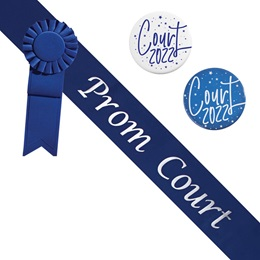 Prom Court Sash and Button Set - Blue and Silver