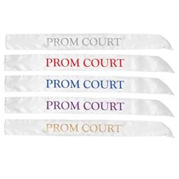 White Satin Prom Court Sash
