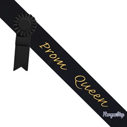 Prom Queen Sash With Rosette and Pin - Black/Gold