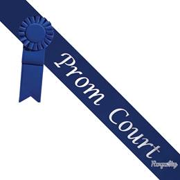 Prom Court Sash With Rosette and Pin - Blue/White