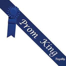 Prom King Sash With Rosette and Pin - Blue/White