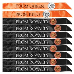 Prom Royalty Satin Sash Set With Buttons